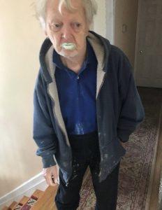 grandfather eats paint